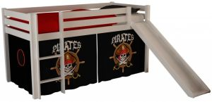 Pino Hochbett 2 Weiß lackiert 90x200 cm Piraten, inkl. Matratze Soft