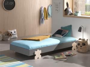 Vipack Modulo Einzelbett/Stapelbett 90 x 200 cm Liegefläche, grau lackiert, Fuß Puzzle-Optik Kiefer natur lackiert