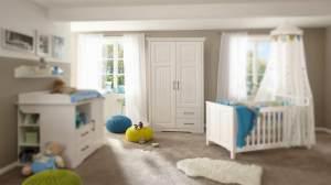 Kleiderschrank KALAS Schrank Babyzimmer in Kiefer massiv weiß 140 cm