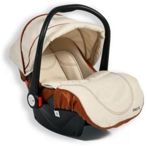 Moni Kindersitz Babyschale Alma Gruppe 0+ (0 - 13 kg) Adapter, Fußabdeckung Dach beige