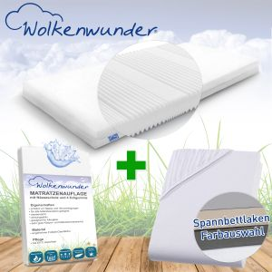 Wolkenwunder 'Multi' Matratze, mittlere Härte, 100x200 cm, inkl. 1 Hygieneauflage & 1 Spannbettlaken, weiß