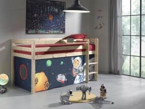 Pino Hochbett 3 Natur lackiert 90x200 cm Spaceman, inkl. Matratze Basic