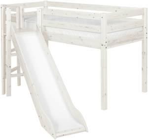 Flexa 'Classic' Halbhochbett mit Rutsche, weiß, 90 x 200 cm