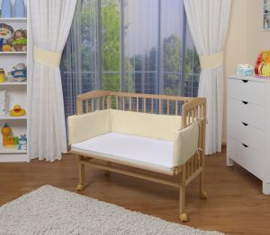 WALDIN Beistellbett mit Matratze, höhenverstellbar, Große Liegefläche, Ausstattung Gelb/Beige, Gestell Natur unbehandelt