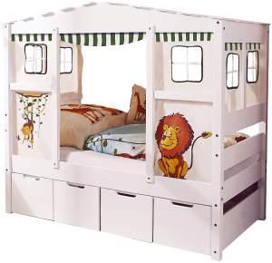 Ticaa 'Safari' Hausbett Mini weiß inkl. Bettkasten 'Maria'