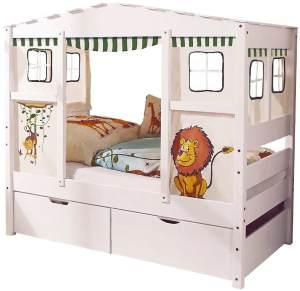 Ticaa 'Safari' Hausbett Mini weiß inkl. Bettkasten 'Melanie'