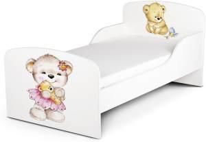 Holz Funktionsbett für Kinder -UV-Druck: Meine Bären - Kinderbett mit Matratze und Lattenrost (140/70 cm)