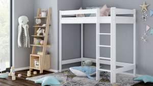 Kinderbettenwelt 'Luca' Hochbett 80x160 cm, weiß, Kiefer massiv, inkl. Matratze und Lattenrost