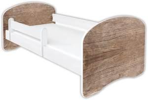 Clamaro 'Schlummerland Dekor' Kinderbett 70x140 cm, Design 10, inkl. Lattenrost, Matratze und Rausfallschutz (ohne Schublade)