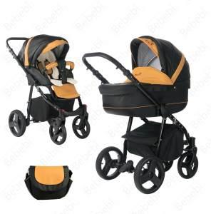 Bebebi Fizzy | Luftreifen in Weiß | 2 in 1 Kombi Kinderwagen | Luftreifen | Farbe: Mango