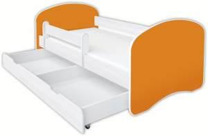 Clamaro 'Schlummerland UNI' Kinderbett 70x140 cm, Orange, inkl. Lattenrost, Matratze, Rausfallschutz und Schublade