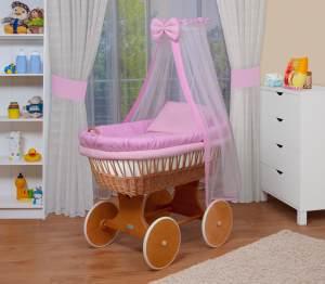 WALDIN Baby Stubenwagen-Set mit Ausstattung, Gestell/Räder natur lackiert, Ausstattung rosa kariert