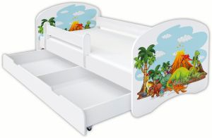 Clamaro 'Schlummerland Dinosaurier' Kinderbett 70x140 cm, Design 4, inkl. Lattenrost, Matratze, Rausfallschutz und Schublade