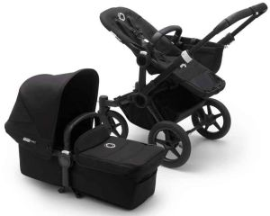 Bugaboo Donkey3 Mono Kinderwagen Set 3 in 1 inkl. Cybex Aton 5 Babyschale Schwarz / Schwarz / Schwarz Deep Black