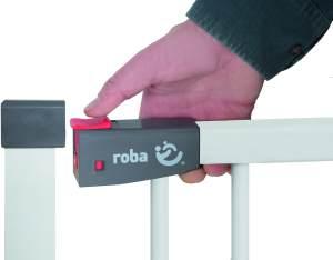 Roba 'Safety Up' Türschutzgitter, für Türbreiten 75 - 82 cm, Schraubbefestigung, Metall, Weiß