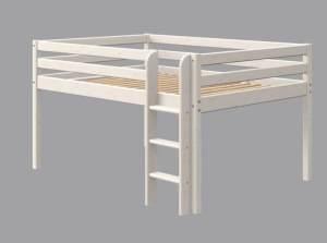 Flexa Classic Halbhohes Bett 140cm mit Senkrechtleiter, 140 x 200 cm | Weiß lasiert