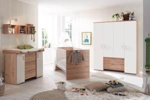 Babyzimmer komplett Eddi 4-tlg. Babyzimmereinrichtung Asteiche/Weiß Matt Lack 90066