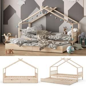 VitaliSpa 'Design' Hausbett 90x200 cm, natur, Kiefer massiv, inkl.Gästebett und Lattenrost