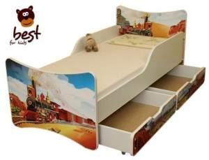 Best for Kids 'Zug' Kinderbett mit Schaummatratze 90x180 rot
