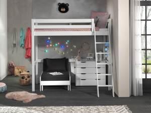 Vipack Hochbett weiß 90 x 200 cm inkl. Sesselbett und Schubladen Kommode