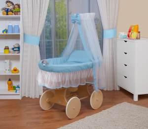 WALDIN Stubenwagen-Set mit Ausstattung Gestell/Räder natur, Ausstattung blau/weiss