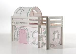 Vipack 'Pino' Spielbett weiß mit Vorhang und Tunnel 'Birdy'