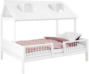 Hüttenbett Beachhouse, Weiß, 140x200cm, Deluxe Lattenrost, Lifetime Kidsrooms