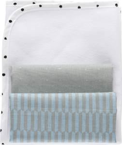MOTHERHOOD Baby Wickelunterlage wasserdicht und luftdurchlässig inkl. 2 Moltonunterlagen aus 100 % Baumwolle, Palisaden blau