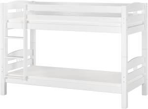 Erst-Holz Etagenbett 90x200 cm, weiß, Kiefer massiv, inkl. Rollroste und Matratzen