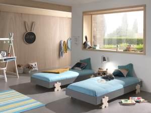 Vipack Modulo Art. Set best. aus 2 Einzelbetten/Stapelbetten je 90 x 200 cm Liegefläche, grau lackiert, Fuß Puzzle-Optik Kiefer natur lackiert
