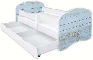 Clamaro 'Schlummerland Dekor' Kinderbett 80x180 cm, Design 12, inkl. Lattenrost, Matratze, Rausfallschutz und Schublade