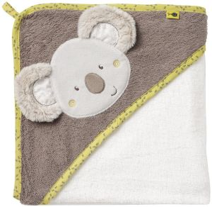 Fehn Kapuzenbadetuch Bade-Poncho aus Baumwolle mit süßem Koala für Babys und Kleinkinder ab 0+ Monaten - Maße: 80 x 80 cm