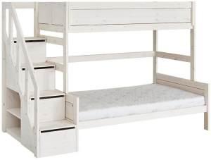 LIFETIME KIDSROOMS 'Family' Etagenbett 90/120 x 200 cm mit Treppe inkl. Deluxe Lattenrost
