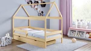 Kinderbettenwelt 'Home Plus' Hausbett 80x160 cm, natur, Kiefer massiv, mit Schublade und Matratze