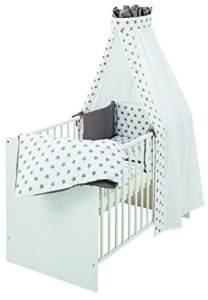 Schardt Komplettbett Classic 60x120 cm, inklusiv Matratze und textiler Ausstattung Big Stars grey, weiß