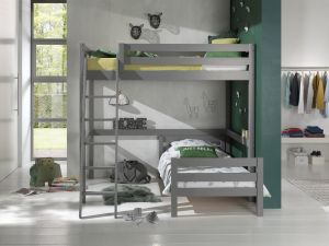 Vipack Winkel Hochbett mit 2 Liegeflächen 140/90 x 200 cm, Ausf. grau lackiert