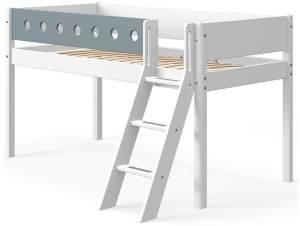 Flexa White Halbhochbett mit schräger Leiter 90 x 190 cm Weiß / Blau