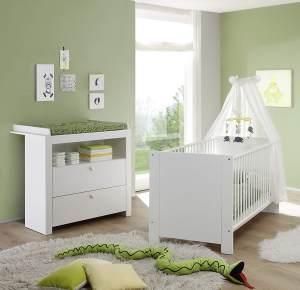 Trendteam 2-tlg. Babyzimmer-Set Olivia weiß, inkl. Kinderbett und Wickelkommode