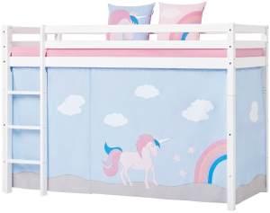 Mittelhoch Bett 90x200cm Weiß mit UNICORN Vorhang, Gerader Leiter und Rolllattenrost, Hoppekids Basic