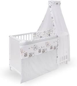 "Urra 'Luca' Komplett-Kinderbett, 60x120 cm, Kiefer, weiß, inkl. Bettwäsche mit Motiv ""Eulenpaar"""