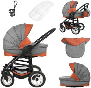 Bebebi Florenz | ISOFIX Basis & Autositz | 4 in 1 Kinderwagen | Luftreifen | Farbe: Spirito Orange Black