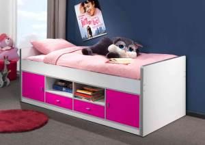 Bonny Kojenbett Jugendbett Bettgestell Kinderbett Bett 90 x 200 cm Weiß / Lila, inkl. Matratze Softdeluxe und Lattenrost 13 Leisten