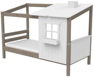 Flexa '1/2 Classic-Haus' Hausbett weiß/grau, 90x200 cm