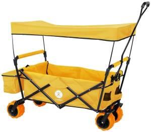 Miweba 'MB-10' Bollerwagen, Orange, inkl. Sonnendach, Hecktasche und Feststellbremse, klappbar