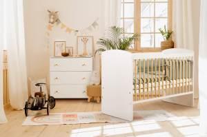 Babybett Kinderbett Gitterbett 60x120 hhenverstellbar & herausnehmbare Sprossen mit Matratze | sehr stabil maximale Sicherheit Made in Europe