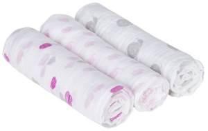 Lässig 'Snail und Clouds Girls' 3-er Pack Pucktücher Swaddle & Burp Blanket L