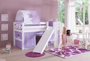 Relita 'Eliyas' Spielbett weiß inkl. Rutsche und Textilset Vorhang, 1-er Tunnel und Tasche 'purple/weiß/herz'