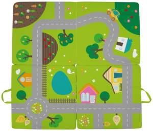 Verkehrsteppich Dorf 100 x 100 x 100 x 4 cm grün