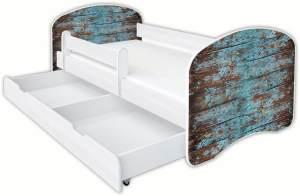 Clamaro 'Schlummerland Dekor' Kinderbett 80x180 cm, Design 7, inkl. Lattenrost, Matratze, Rausfallschutz und Schublade