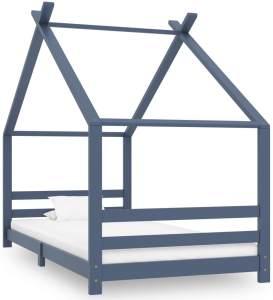 vidaXL Hausbett 90x200 cm, Grau, Kiefer massiv